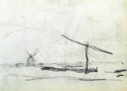 Nyilasy Sándor - Alföldi táj gémeskúttal, szélmalommal (1910 körül)