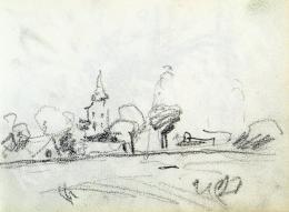 Nyilasy Sándor - A tápéi templomtorony a Tisza-felől (1910 körül)