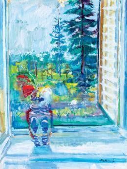 Mattioni Eszter - Kilátás a műteremből (Virágok az ablakban)