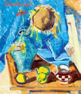 Ilosvai Varga, István - Studio Still-Life with Sunflowers