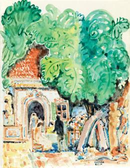 Kádár Béla - Árnyas fák az udvaron