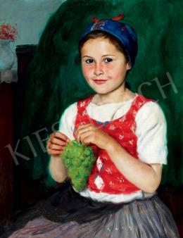 Glatz Oszkár - Kislány szőlővel