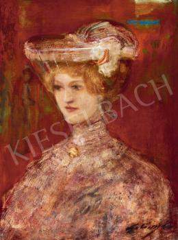 Gulácsy Lajos - Fátyolos nő (Nő fátyolos kalappal)