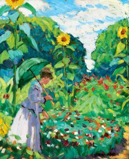 Balla Béla - Napernyős hölgy kertben
