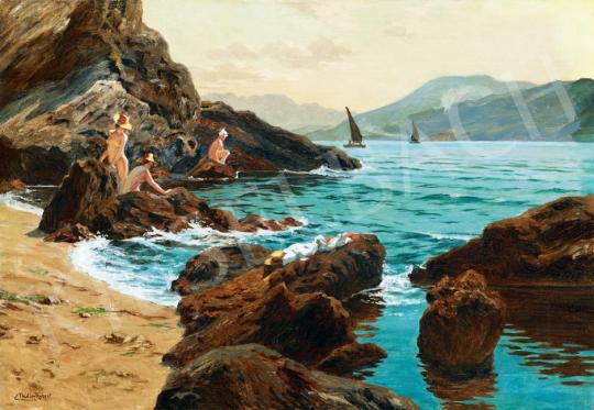 Nádler Róbert - Horvát tengerpart fürdőzőkkel (Dalmácia)   41. Aukció aukció / 122 tétel