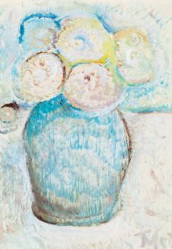 Tóth Menyhért - Virágok kék vázában   41. Aukció aukció / 124 tétel