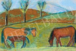 Nagy István - Legelésző lovak