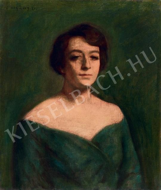 Czigány Dezső - Hölgy zöld ruhában festménye