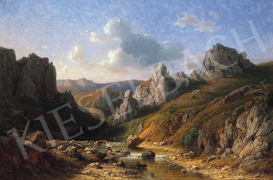 Ligeti Antal - Romanitkus táj vízparton, alakokkal   17. Aukció aukció / 120 tétel