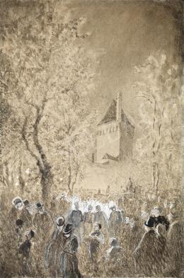 Mednyánszky László - Este a városfal alatt, (1880-as évek)
