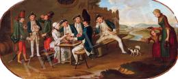 Francia festő, XVIII. század - Udvarlás (Borozók)