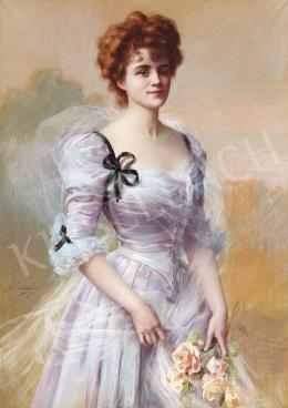 Enjolras, Delphin - Lady in a Violet Silk Dress