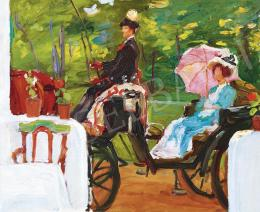 Kunffy, Lajos - Woman with Parasol Sitting on a Carriage (Kunffyné) (c. 1909)