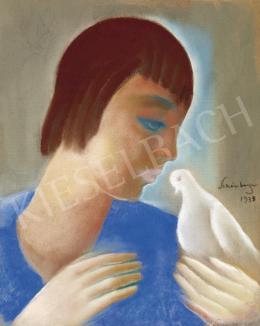 Schönberger Armand - Lány fehér galambbal