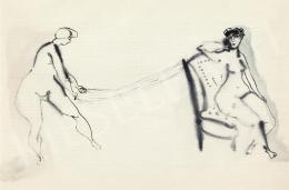 Anna Margit - Készülődők (Gombolyítós önarckép)
