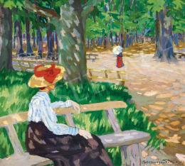 Boromisza Tibor - Kalapos nő parkban (Cinterem Nagybányán)