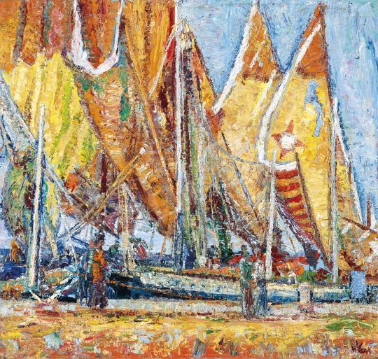 Vén Emil - Tengerpart vitorlásokkal (Chioggia) | 42. Aukció aukció / 77. tétel