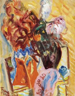 Frank Frigyes - Műtermi csendélet virággal