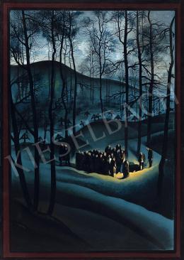 Jaschik, Álmos, - Gravyard Scene with Moonlight