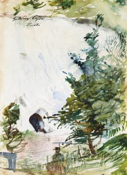 Gulácsy Lajos - Itáliai táj vándorral (Tivoli)