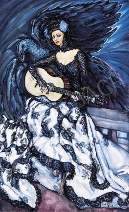 Batthyány Gyula - Hölgy gitárral (Rosita Serrano portréja)