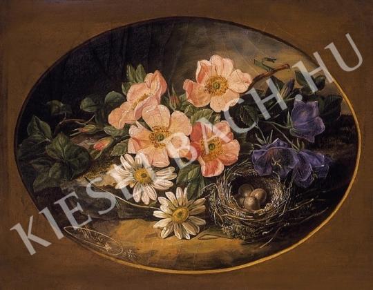 Ismeretlen festő - Tavaszi csendélet fészekkel festménye
