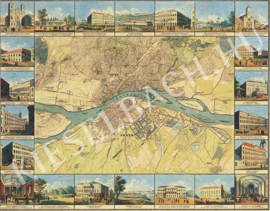 Ismeretlen festő - Pest-Buda térképe és nevezetes részletei festménye