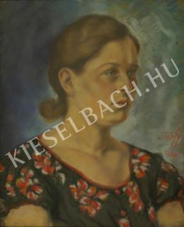 Ismeretlen festő - Nő virágos blúzban (1930)