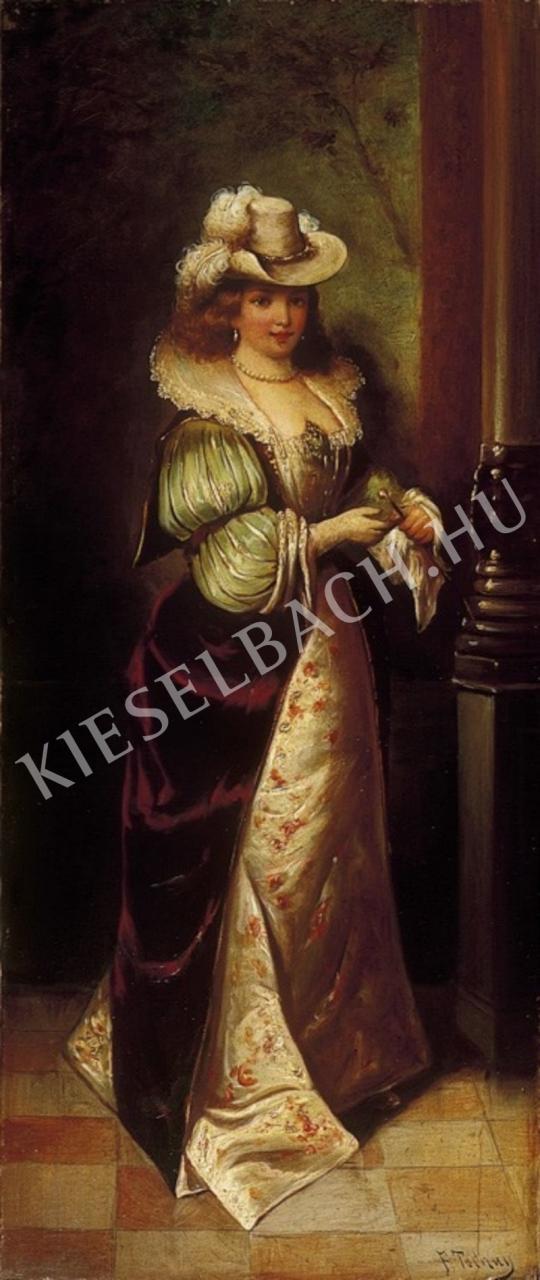 Ismeretlen festő - Kalapos hölgy festménye