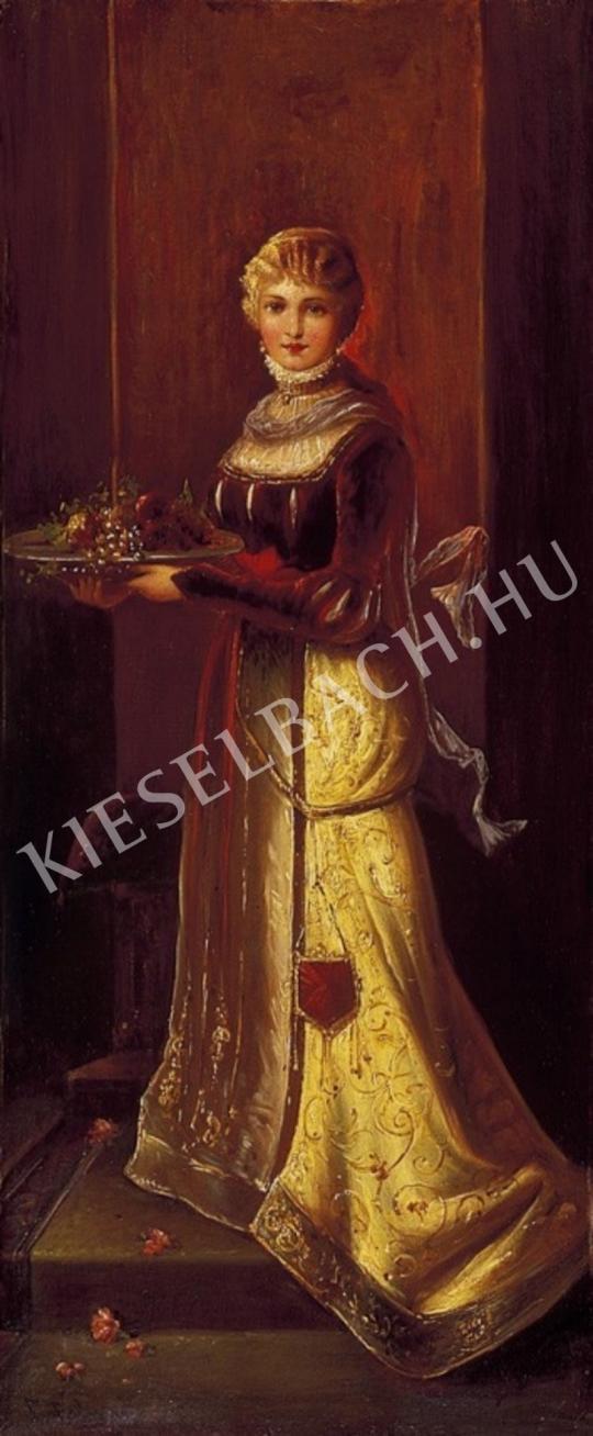 Ismeretlen festő - Kislány gyümölcsöstállal reneszánsz ruhában festménye