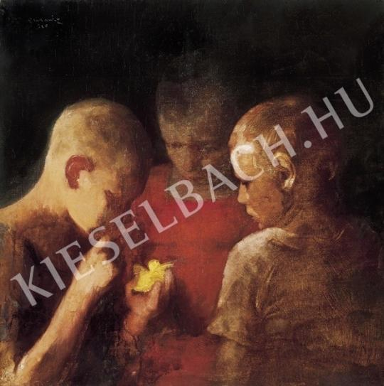Ismeretlen festő - Fiúk kismadárral festménye