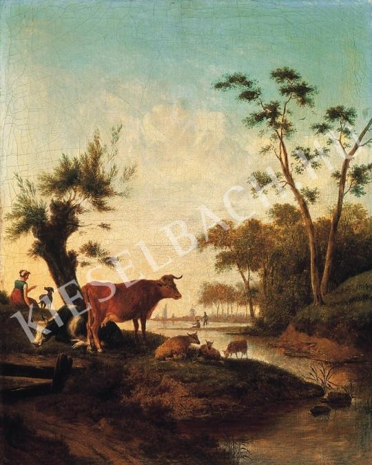 Ismeretlen festő - Patakparti idill festménye