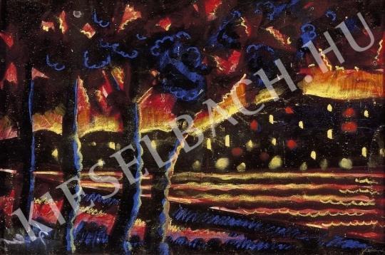 Ismeretlen festő - Tóparti alkonyat festménye