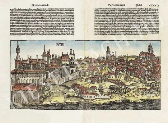 Ismeretlen festő - Buda látképe Hartmann Schedel Liber Chronicarum c. munkájának latin nyelvű kiadásából festménye