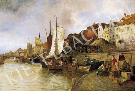 Ismeretlen festő - Kikötői jelenet festménye