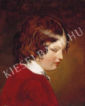Ismeretlen festő - Gyermek vörös bársonyruhában festménye