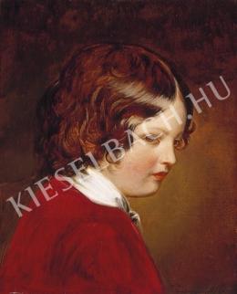 Ismeretlen festő - Gyermek vörös bársonyruhában (1850 k.)