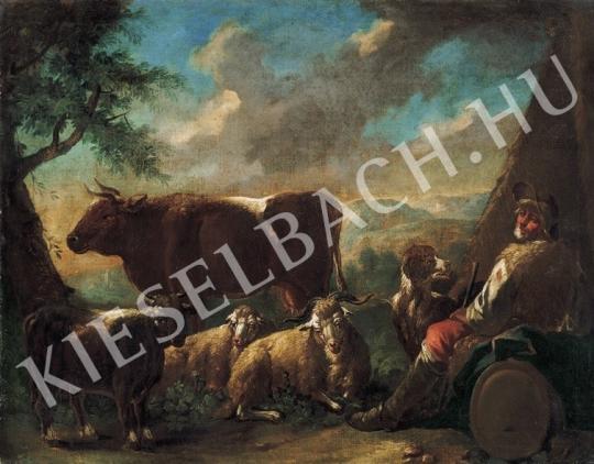 Ismeretlen festő - Pásztor itáliai tájban festménye