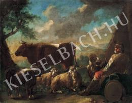 Ismeretlen festő - Pásztor itáliai tájban