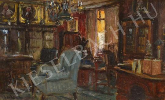Berkes Antal - Szobabelső kék fotellel (Arisztokrata enteriőr) festménye