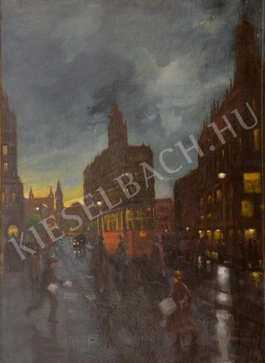 Berkes Antal - Az Erzsébet híd felé közlekedő villamos festménye
