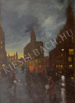 Berkes Antal - Az Erzsébet híd felé közlekedő villamos (1917 körül)