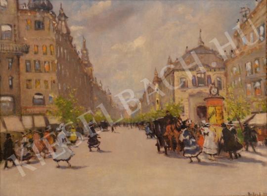 Eladó  Berkes Antal - Hölgyek órás hirdetőoszlop előtt (A pesti Nagykörút) festménye