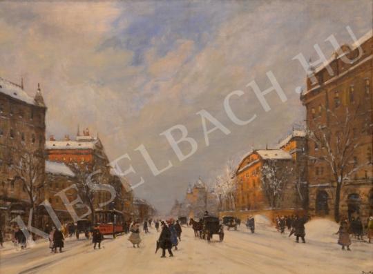 Eladó  Berkes Antal - Téli utcakép bankpalotákkal festménye