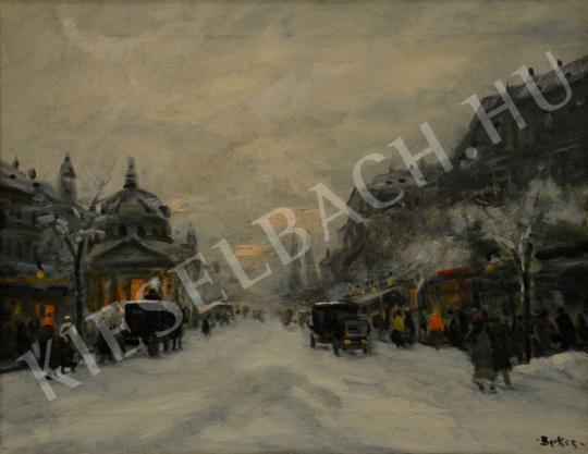 Eladó  Berkes Antal - Téli utcakép (Bevásárlás után) festménye