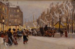Berkes Antal - Téli utcakép villanyfényes kirakatokkal