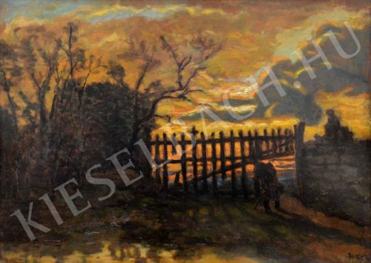 Eladó  Berkes Antal - Aranyló naplemente kerítéssel festménye