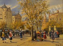 Berkes, Antal - Autumn Street with Flower Seller
