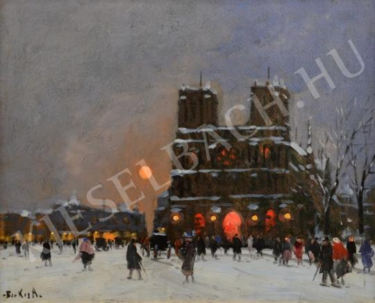For sale  Berkes, Antal - French Gothic Cathedral in a Winter Night 's painting