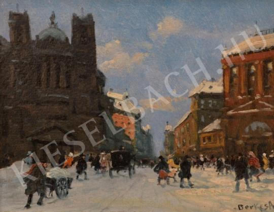 For sale  Berkes, Antal - Winter Streetview with Church and Gate 's painting